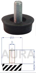 Silent blocs amortisseurs (pieds machine) série AS-1 - Pour charge en compression de 60 Kgs