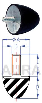 Butée progressive - Silent bloc série ATP-1 - Pour charge en compression de 40 à 50 Kgs