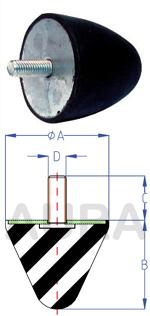 Butée progressive - série TP-2 - Pour charge en compression de 90 à 350 Kgs