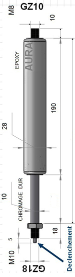 Vérin de blocage FONT COLOR=yellow ELASTIQUE /FONT - Tige diamètre 10 mm - Extrémités filetées M10 coté tige et M8 coté tube