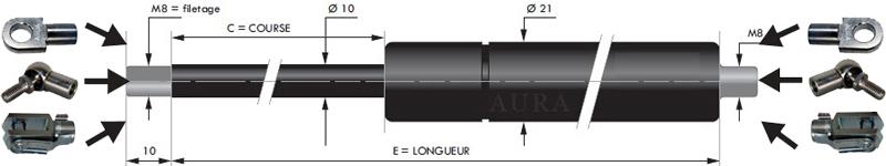 Vérins extrémités filetées tige de 10 mm