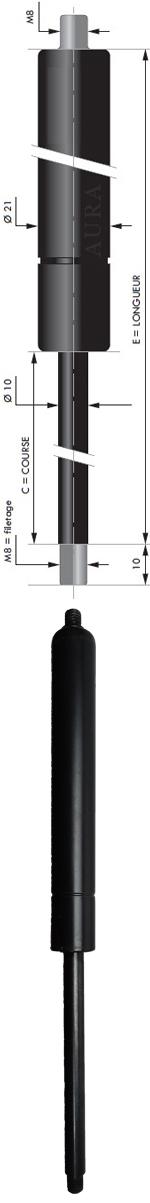 Vérin POUSSEE - Tige diamètre 10 mm - Courses de 100 à 500 mm - Forces 50 à 800/1000 newtons