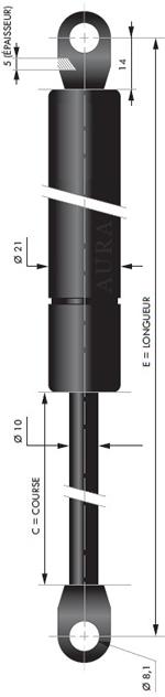 Vérin POUSSEE - Tige diamètre 10 mm - Courses de 100 à 400 mm - Forces 50 à 1150 newtons