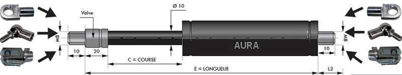 Vérins TRACTION extrémités filetées tige de 10 mm