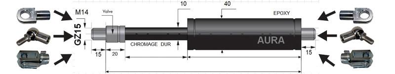 Vérins TRACTION extrémités filetées tige de 10 mm M14