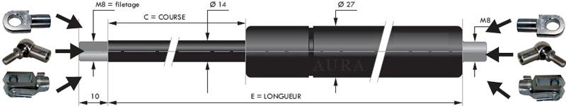 Vérins extrémités filetées tige de 14 mm