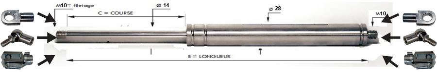 Vérins INOX extrémités filetées tige de 14 mm