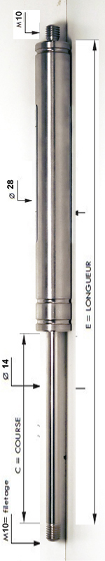 Vérin INOX 316L avec tige de diamètre 14mm - Extrémités filetées M10