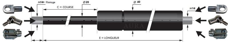 Vérins extrémités filetées tige de 20 mm