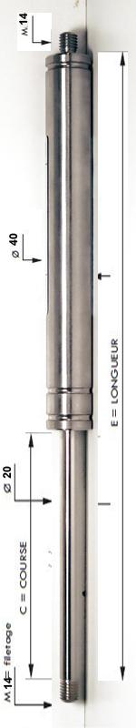 Vérin INOX 304 avec tige de diamètre 20mm - Extrémités filetées M14