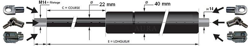 Vérins extrémités filetées tige de 22 mm