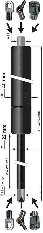 Vérin POUSSEE - Tige diamètre 22 mm - Courses de 50 à 1000 mm - Forces 500 à 6000 newtons