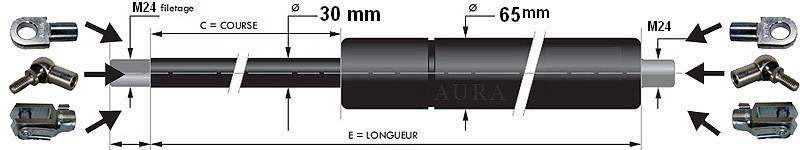 Vérins extrémités filetées tige de 30 mm