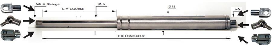 Vérins INOX extrémités filetées tige de 6 mm