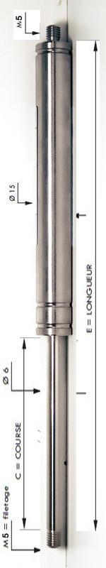 Vérin INOX 316L avec tige de diamètre 6mm - Extrémités filetées M5