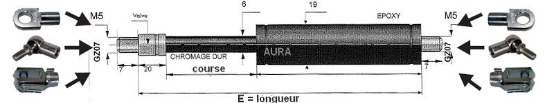 Vérins TRACTION extrémités filetées tige de 6 mm