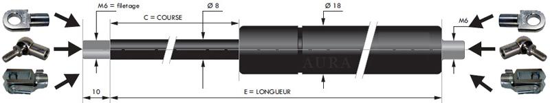 Vérins extrémités filetées tige de 8 mm