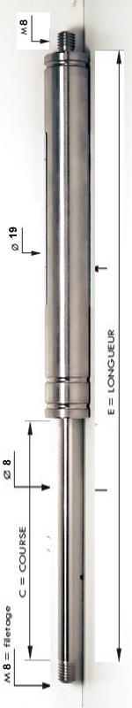 Vérin INOX 316L avec tige de diamètre 8mm - Extrémités filetées M8