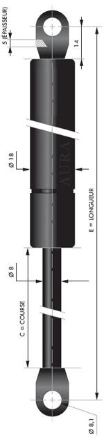 Vérin POUSSEE - Tige diamètre 8 mm - Courses de 40 à 250 mm - Forces 40 à 800 newtons