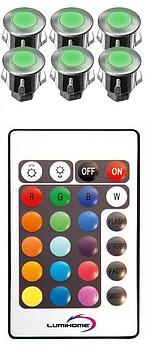 KIT CHROMOTHERAPIE - Avec 6 x MINI spots INOX couleurs  - A encastrer ( murs)