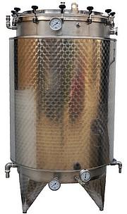 CUVE  INOX 316L - ouverture totale - couvercle + joint + pinces de fermeture -  20/10 -ème - Avec piquages