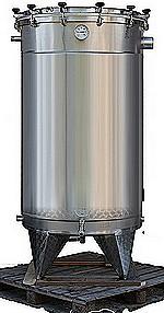 CUVE  INOX 304L - ouverture totale - couvercle + joint + pinces de fermeture -  20/10 -ème - Avec piquages