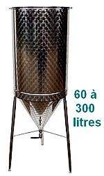 FERMENTEUR INOX 304L - 60 à 300 Litres - épaisseur 8/10 eme mm