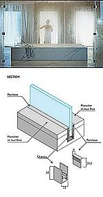 PAROIS VITREES HAMMAM avec PORTE - sur mesure - PARCLOSE INVISIBLE - cadre encastré