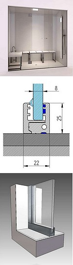 PAROIS VITREES HAMMAM avec PORTE - sur mesure - PARCLOSE VISIBLE = cadre en applique