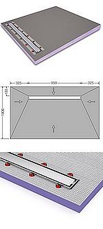 SOLS HAMMAM  avec écoulement SIPHON LINEAIRE type  SIPHON LINEAIRE type CANIVEAU - 4 PENTES -accès PMR